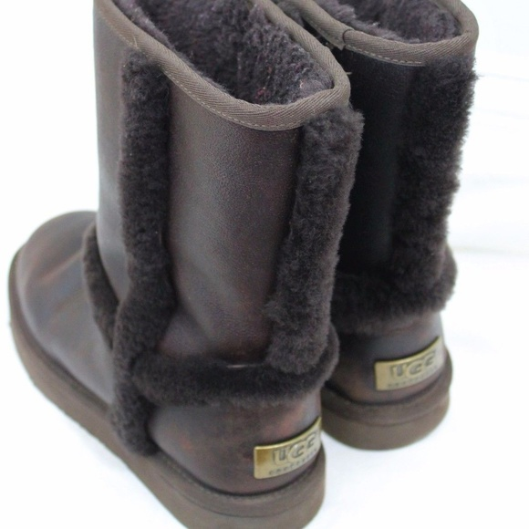 48ec9ad465e UGG Australia Brown Leather Shearling Boot Shoe 8